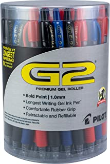 Pilot G2 可伸缩高级凝胶墨水圆珠笔 可重新填充 36 件装 BLACK/BLUE/RED