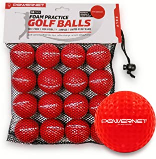 PowerNet 16 只装练习泡沫高尔夫球   柔软轻质耐用材料   室内或室外使用   适合所有技能级别   限时飞行