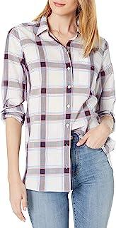 亚马逊品牌 - Goodthreads 女式棉质提花长袖前纽扣束腰衬衫