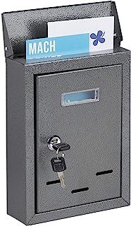 Relaxdays 带姓名牌信箱,金属制成,带 2 把钥匙,窄信箱,高 x 宽 x 深:26.5 x 19 x 6.5 厘米,灰色