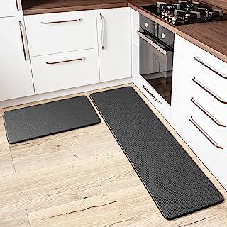 抗*厨房垫和地毯 - 2 件套缓冲防滑防水厨房地垫,非常适合用于水槽前、PVC *泡沫。舒适装饰。适合家庭、办公室、洗衣房的跑步地毯