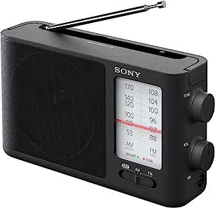 Sony 索尼 ICF-506 便携式模拟调谐FM / AM收音机,黑色,2.14磅(约970.69克)