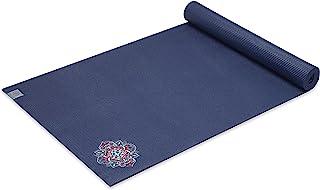 Gaiam 瑜伽垫高级刺绣超厚运动与健身垫,适合各种瑜伽、普拉提和地板锻炼、花卉牛仔布、6 毫米