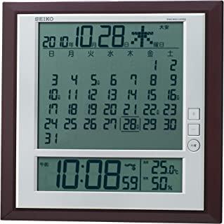 SEIKO CLOCK (セイコークロック) 掛置兼用時計 月めくりカレンダー・電波 デジタル 六曜・温度・湿度表示 茶メタリック SQ421B