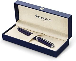 Waterman Exception 鋼筆,修身藍色,鍍銀夾,精美筆尖,藍色墨盒,禮品盒裝