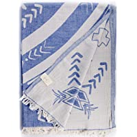 Bersuse * 纯棉 - 科纳超大号 (XL) 土耳其抱毯 - 沙发床套,野餐毯 - Peshtemal 海滩毛巾…