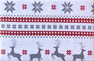 北欧 4 件套棉质土耳其法兰绒床单套装几何斯堪的纳维亚风格图案雪花驯鹿冬季(特大号)