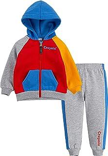 Crayola 兒童服裝兒童全拉鏈連帽衫和慢跑褲 2 件套套裝