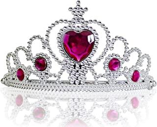 Katara - 女童公主皇冠,银色或金色,带蓝色,绿色、粉色或紫色水钻,适合 3-11 岁儿童 3 years to 11 years Princess diadem one size Silver, Dark Pink