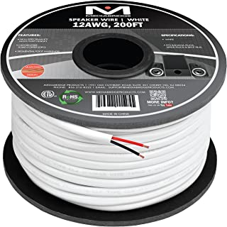 Mediabridge 12AWG 2-Conductor Speaker Wire (200 Feet, White) - 99.9% Oxygen Free Copper - ETL Listed & CL2 Rated for In-Wa...