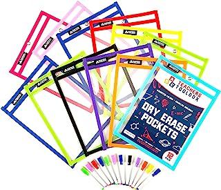 干擦口袋 12 件 [25.4 厘米 x 33.02 厘米] +铅笔 +附赠 900 张可下载床单! 可写和擦拭 可重用塑料板保护膜 适用于课堂组织和教学用品 由教师工具箱