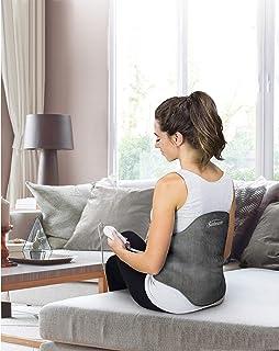 Sunbeam 加热垫,背部包裹带,可调节肩带轮廓,缓解背部不适,4 种加热设置,2 小时自动关闭,23 x 15 英寸(约58.42 x 38.10厘米),板灰色
