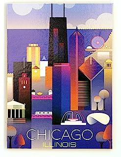 芝加哥伊利诺伊州现代艺术天际线磁贴