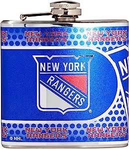 NHL 不锈钢*瓶金属图形 银色 6 盎司