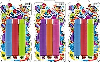 JA-RU Pull Pop Tubes 感官解压玩具(9 根管,3 件装)流行游戏管感官玩具管道工具适用于压力玩具和缓解*玩具,适合儿童和成人派对,附带 1 张贴纸。4778-3s
