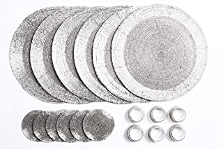 Penguin Home 玻璃串珠,杯垫 餐巾环 - 银色圆形餐垫 - 由技艺娴熟的印度工匠手工制作 - 直径 32 厘米(13 英寸),18 件套