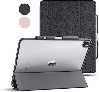 TineeOwl Mocha iPad Pro 12.9 保护套 2020 & 2018(* 4 和* 3 代)超薄透明保护套,带笔筒 + 三折支架套,减震,轻质(黑色)
