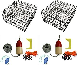 2 件装 KUFA 乙烯基涂层螃蟹陷阱和配件套装,包括 100 英尺绳子、卡钳、胸背带、诱饵袋和红色/白色浮物