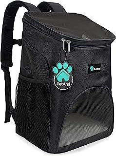PetAmi 高级宠物背包,适合小型猫和犬 | 通风设计,*带,扣子支撑| 专为旅行、远足和户外使用设计 黑色