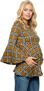 My Bump Bell Sleeve 孕妇褶皱上衣 - 喇叭袖休闲圆领荷叶边上衣