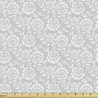 The Yard Lunarable 灰色面料,蕾丝风格复古白玫瑰图案复古时尚女性图案,装饰面料适用于装饰和家居装饰,1 码,淡灰白色