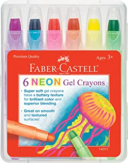 Faber-Castell 凝胶蜡笔 - 漂亮的色彩和优质的融合 - 可绘制大量作品 36 months to 120 months 6 只装 - 霓虹色 橙色