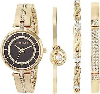 Anne Klein 安妮克莱因 女士施华洛世奇水晶金色手表和手镯套装 AK/3426BKST