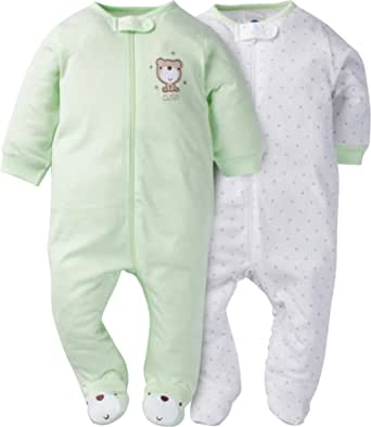 gerber 婴儿 2 件装 拉链,前部 sleep 'n play, teddy, 3-6 个月