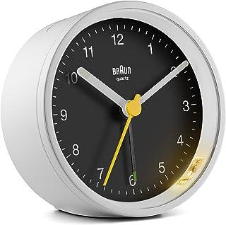 BRAUN 博朗 时钟-BC12WB经典模拟时钟,带贪睡和灯光功能,安静的石英机芯,渐强式蜂鸣器,黑色和白色,型号BC12WB,US:单一尺寸