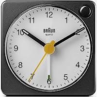 Braun 博朗 经典旅行模拟闹钟 带贪睡和灯光 小巧尺寸 静音石英 Crescendo 蜂鸣报警 黑色和白色 型号 B…