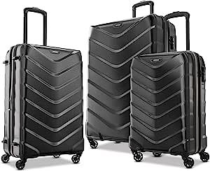 American Tourister 美旅箱包 Arrow 硬壳旅行箱 3件套(21/24/28),可扩展,带万向轮,黑色