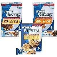 Pure Protein 营养蛋白棒,高蛋白的营养小零食,低糖,无麸质,适合花生酱爱好者的混合装,1.76盎司,50克…