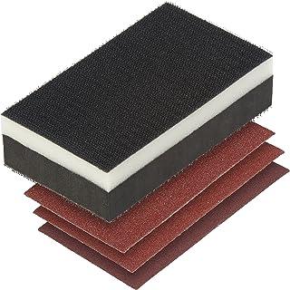 wolfcraft 2892000 手持砂纸套装 带手持式磨光机 Plus 3 个易修复砂纸和玉米粒 60/80/120 - 黑色
