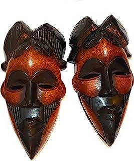 NOVARENA 非洲艺术阿富汗加纳牙墙面面面具和雕塑 - 非洲家居面具装饰(1 件刚果 30.48 厘米黑色和棕色面具)