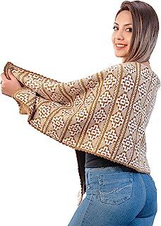 INTI ALPACA 女士棕色羊驼披肩 Chakana 主题 - 印加十字架