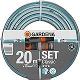 GARDENA 嘉丁拿 经典软管 13 毫米(1/2 英寸),20 米:通用花园软管,坚固的交叉编织,22 巴爆裂压力…