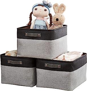 """DECOMOMO 可折叠收纳箱 [3 件装] 可折叠坚固的阳离子面料储物篮方块带把手,便于整理托儿所家庭衣柜 灰色和黑色 Extra Large - 15.8 x 12.5 x 10"""""""