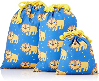 Solby 保育园 幼儿园 收纳杯子 荷包 3 件装 ライオン/ブルー