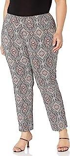 SLIM-SATION 女式加大码宽带套穿印花九分裤