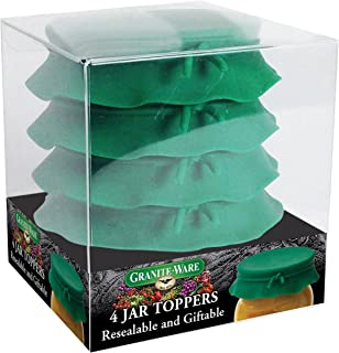 Granite Ware Silicone Jar Toppers, Green, Set of 4