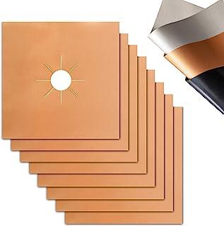 炉灶燃烧器罩 - 0.3 毫米*厚度,可重复使用快速清洁炉灶内衬盖,不粘 8 件装,尺寸 10.6 英寸 x 10.6 英寸(约 26.9 厘米 x 27.9 厘米),可用洗碗机清洗,耐热燃气灶保护罩(铜色)