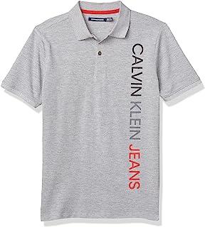 Calvin Klein 男童短袖垂直标志 Polo 衫