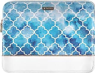 舒适的平板电脑内胆包适用于 iPad Pro 12.9 英寸 2020-2018 和 Smart/Magic 键盘带笔架,人造皮革防水保护套,Aqua Moroccan 瓷砖图案