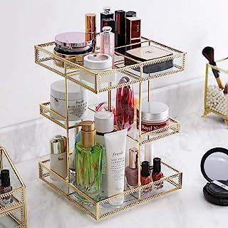 360 度旋转玻璃化妆整理器,香水展示盒和化妆品存储,非常适合浴室、梳妆台、台面(金色))