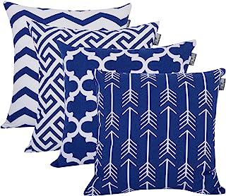 ACCENTHOME 4 件装 | 印花柔软装饰方形抱枕枕套靠垫套枕套 | 沙发、沙发、卧室的家居装饰| 室内和室外靠垫套 | 45.72 厘米 x 45.72 厘米 宝蓝色