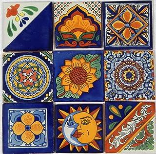 9 手绘塔拉韦拉墨西哥瓷砖 10.16 厘米 x 10.16 厘米