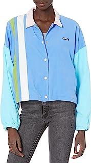 Obey 女式轻质灯芯绒夹克,带宽超大修身剪裁长度,蓝色多色,M 码