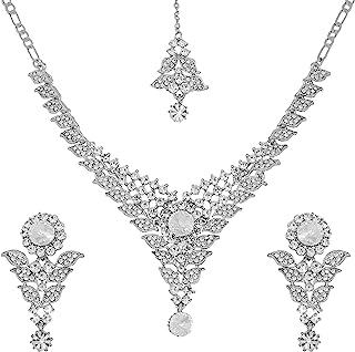 Touchstone Hollywood Glamour 白色水晶大设计师婚礼珠宝项链银色适合女士