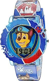 Paw Patrol 狗狗巡逻队 儿童数字手表蓝色表壳,舒适蓝色表带,易于搭扣 - 表盘上的官方 3D 狗狗巡逻队字符 - 型号: PAW4015