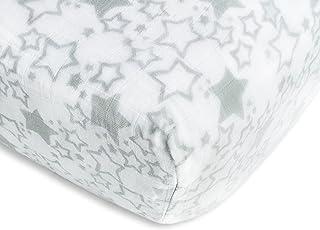 Swaddledesigns Swaddledesigns Muslin Fitted Crib Sheet, Starshine, Sterling, Sterling